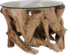 Runder Glastisch mit Wurzelholz-Gestell 60 cm breit