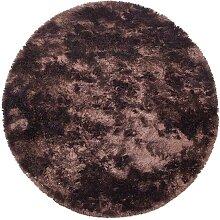 Runder Hochflorteppich in Dunkelbraun 200 cm