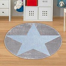 Runder Jungen Teppich mit Stern Grau Blau Größe
