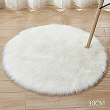 Runder Kunstfell-Teppich aus Schaffell,