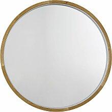 Runder Leuchtspiegel aus Eichenholz, D90