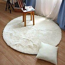 Runder Plüschteppich, einfarbiger Teppich mit