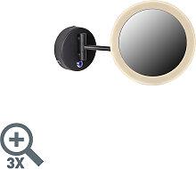 Runder Schminkspiegel schwarz inkl. LED IP44 -