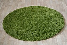 Runder Shaggy Hochflor Langflor Teppich für das Wohnzimmer, Schlafzimmer, Esszimmer und das Kinderzimmer geeignet natürlich Öko Tex 100 (120 cm rund, grün)