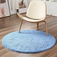 Runder Shaggy-Teppich, einfarbiger Plüsch-Teppich