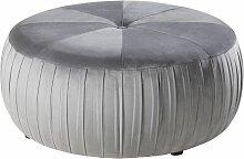 Runder Sitzsack aus grauem Samt und Kiefernholz