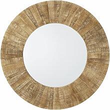 Runder Spiegel aus recyceltem Holz D120