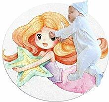 Runder Teppich Aquarell Meerjungfrau Mädchen