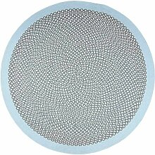 Runder Teppich aus Baumwolle Blau und Grau 120cm