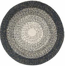 Runder Teppich aus Baumwolle, blau, weiß und grau