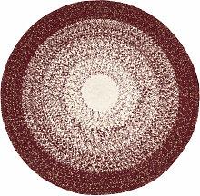 Runder Teppich aus Baumwolle, Farbabstufung, rot