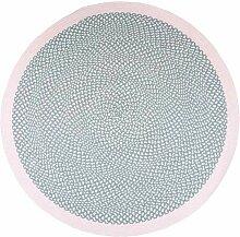 Runder Teppich aus Baumwolle Rosa und Grau 120cm