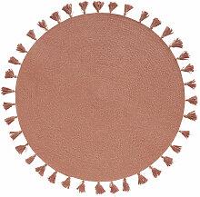 Runder Teppich aus Baumwollgeflecht mit Pompons