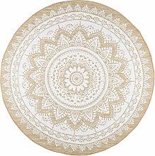 Runder Teppich aus Jute und weißer Baumwolle D180