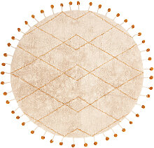 Runder Teppich aus natürlicher Baumwolle und