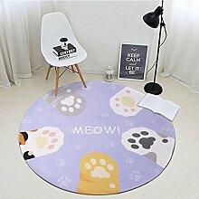 Runder Teppich einfaches modernes Schlafzimmer Nachttisch Wohnzimmer Couchtisch mit dickem Computer Stuhl Teppich A+ ( Farbe : #4 , größe : 120*120cm )
