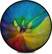Runder Teppich Flauschig Weich Bunt Regenbogen