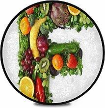 Runder Teppich Flauschig Weichobst Gemüse