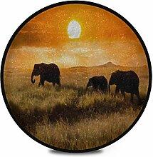 Runder Teppich Flauschige weiche Familienelefanten