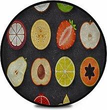 Runder Teppich Flauschige weiche Früchte Icon Set