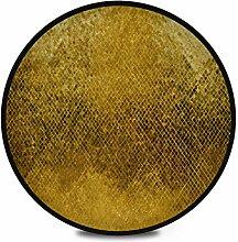 Runder Teppich Flauschige weiche Goldstruktur