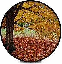 Runder Teppich Flauschige weiche Herbstblätter