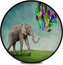 Runder Teppich Flauschiger weicher Elefant Bunte