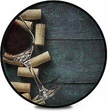 Runder Teppich Flauschiges Weichglas Rotweinkorken