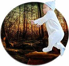 Runder Teppich für Kinderzimmer, Kaninchen,
