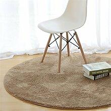Runder Teppich für Wohnzimmer & Schlafzimmer & Computerstuhl & Kaffetisch & Drehstuhl Anti-Rutsch-Matten Kinderbett Long Hair Area Rug Krabbeldecke (Grün, Durchmesser 110 cm)