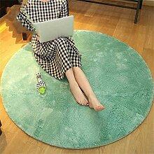 Runder Teppich Home Wohnzimmer Schlafzimmer Sofa Lange Haare Dicker Computer Stuhl Kissen Bedside Teppich ( Farbe : Gray green , größe : Diameter 140cm )