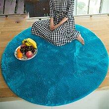 Runder Teppich Home Wohnzimmer Schlafzimmer Sofa Lange Haare Dicker Computer Stuhl Kissen Bedside Teppich ( Farbe : Blau , größe : Diameter 140cm )
