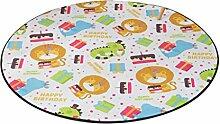 Runder Teppich im Schlafzimmer Wohnzimmer für Stuhl Sofa Couchtisch Bedside Bereich Teppich Mat Lovely Style Cartoon Lion Pattern für Kid ( größe : Diameter 150cm )