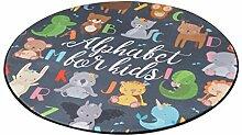 Runder Teppich im Schlafzimmer Wohnzimmer für Stuhl Sofa Couchtisch Bedside Bereich Teppich Mat Lovely Style Cartoon Zoo Pattern für Kid ( größe : Durchmesser 60cm )