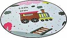Runder Teppich im Schlafzimmer Wohnzimmer für Stuhl Sofa Couchtisch Bedside Bereich Teppich Mat Lovely Style Cartoon Train Pattern für Kid ( größe : Diameter 120cm )