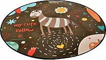 Runder Teppich im Schlafzimmer Wohnzimmer für Stuhl Sofa Couchtisch Bedside Bereich Teppich Mat Lovely Style Cartoon Muster für Kid Brown ( größe : Diameter 120cm )