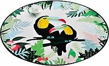Runder Teppich im Schlafzimmer Wohnzimmer für Stuhl Sofa Couchtisch Bedside Bereich Teppich Mat Lovely Style Cartoon Vogel Muster für Kind ( größe : Diameter 100cm )