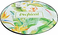 Runder Teppich im Schlafzimmer Wohnzimmer für Stuhl Sofa Couchtisch Bedside Bereich Teppich Matte Frische Natur Stil Grüne Blätter Gelbe Blumen Muster ( größe : Diameter 120cm )