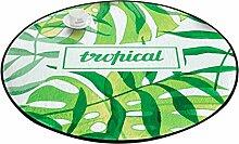 Runder Teppich im Schlafzimmer Wohnzimmer für Stuhl Sofa Couchtisch Bedside Bereich Teppich Matte Frische natürliche Art Grün Blätter Muster ( größe : Diameter 120cm )
