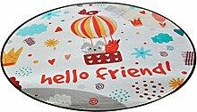 Runder Teppich im Schlafzimmer Wohnzimmer für Stuhl Sofa Couchtisch Bedside Bereich Teppich Mat Lovely Style Cartoon Heißluft Ballon Muster für Kind ( größe : Durchmesser 60cm )