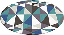 Runder Teppich im Wohnzimmer Schlafzimmer für Bedside Couchtisch Stuhl Bereich Teppich Matte Europäische Stil Blaue Geometrische Muster ( größe : Diameter 100cm )