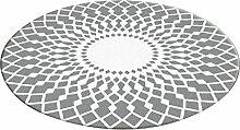 Runder Teppich im Wohnzimmer Schlafzimmer für Bedside Couchtisch Stuhl Bereich Teppich Matte grau und weiß Dekorative Design Pattern ( größe : Diameter 180cm )