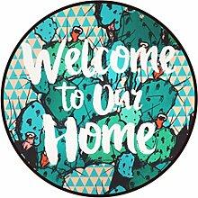 Runder Teppich im Wohnzimmer Schlafzimmer für Couchtisch Nachttisch Stuhl Rutschfester Bereich Teppich Matte Kreativ Stil Grün Kaktus Muster ( größe : Diameter 80cm )
