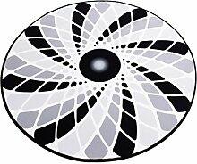 Runder Teppich im Wohnzimmer Schlafzimmer für Couchtisch Nachttisch Stuhl rutschfester Bereich Teppich Matte Modern Style Schwarz Weiß Grau Spiral Muster ( größe : Diameter 120cm )