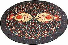 Runder Teppich im Wohnzimmer Schlafzimmer für Couchtisch Nachttisch Stuhl Rutschfeste Bereich Teppich Matte Lovely Sweet Style Cartoon Fisch Muster ( größe : Diameter 80cm )