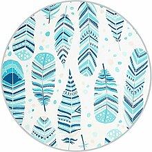 Runder Teppich im Wohnzimmer Schlafzimmer für Couchtisch Nachttisch Stuhl Rutschfeste Bereich Teppich Matte Kreative Stil Blaue Feder Muster ( größe : Diameter 160cm )
