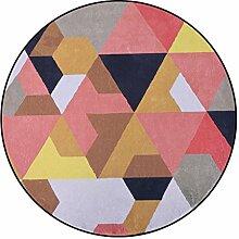 Runder Teppich im Wohnzimmer Schlafzimmer für Couchtisch Nachttisch Stuhl weiche Bereich Teppich Matze prägnante Art orange Spleißen Geometrie Muster ( größe : Diameter 100cm )