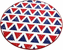 Runder Teppich im Wohnzimmer Schlafzimmer für Couchtisch Nachttisch Stuhl Rutschfeste Bereich Teppich Matte Lovely Sweet Style Blau Rot Dreieck Muster ( größe : Diameter 100cm )