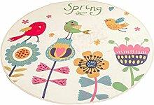 Runder Teppich im Wohnzimmer Schlafzimmer für Couchtisch Nachttisch Stuhl Rutschfeste Bereich Teppich Mat Lovely Sweet Style Cartoon Blumenmuster ( größe : Diameter 160cm )