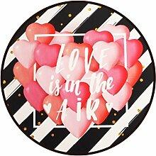 Runder Teppich im Wohnzimmer Schlafzimmer für Couchtisch Nachttisch Stuhl rutschfester Bereich Teppich Matte kreativ Stil rosa Ballon Muster ( größe : Diameter 140cm )